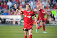 Kansas City, Mo. - Saturday April 23, 2016: Portland Thorns FC defender Emily Sonnett (16) during a match against FC Kansas City at Swope Soccer Village. The match ended in a 1-1 draw.