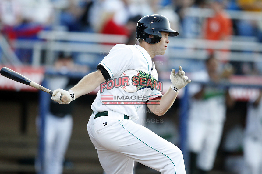 June 23, 2009:  Chad Cregar of the Jamestown Jammers at bat during a game at Russell Diethrick Park in Jamestown, NY.  The Jammers are the NY-Penn League Short-Season Class-A affiliate of the Florida Marlins.  Photo by:  Mike Janes/Four Seam Images