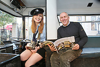 "NO FEE. 20/10/2010. Vintage CIE Double Decker Bus Makes One Last Stop . Beautiful 'conductor' Jane Kendlin and Dublin based bus enthusiast Ed O'Neil are pictured in full conductor's uniform to mark the launch of two new books on CIE Buses in the 1970's and 1980's, a vintage CIE double decker bus, outside the Mansion House on Dawson Street, Dublin.he coffee table books have been published by PRC Publications, a new transport publications company based in Dublin, and feature a miscellany of photographs of Irish buses and street scenes in both rural and urban locations, taken by Ed O'Neill from mid 1970 to mid 1980. A self-confessed ""bus nut"", O'Neill has compiled the two books which will appeal to both enthusiasts and the general public alike. Urban street scenes, including traffic on Dublin's Grafton Street, will remind readers of a time long gone when traffic regulations were far more relaxed and beautiful buildings stood tall, many of which are sadly no longer in existence. The books, 'CIE Buses in the 1970s and 80s - Double Deckers' and 'CIE Buses in the 1970s and 80s - Single Deckers' are priced at EUR25.00 per book (or both books for EUR45.00) and are available from Mark's Models branches or online at www.prcpublications.com. Picture James Horan/Collins Photos"