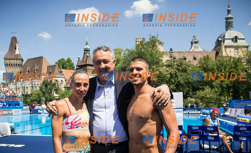 ITA Italy FLAMINI Manila MINISINI Giorgio gold medal with FIN President BARELLI Paolo<br /> Synchronised swimming , Synchro<br /> mixed duet tecnhical final<br /> 17/07/2017 <br /> XVII FINA World Championships Aquatics<br /> City Park - Varosliget Lake<br /> Photo @ Giorgio Perottino/Deepbluemedia/Insidefoto