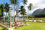St. Philomena Church - Father Damien's Church in the Kalawao area of Kalaupapa Peninsula.  The guided tour at the historic site of Kalaupapa on the island of Molokai, Hawaii, USA