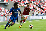Willian of Chelsea and Sead Kolasinac of Arsenal during the The FA Community Shield match at Wembley Stadium, London. Picture date 6th August 2017. Picture credit should read: Charlie Forgham-Bailey/Sportimage