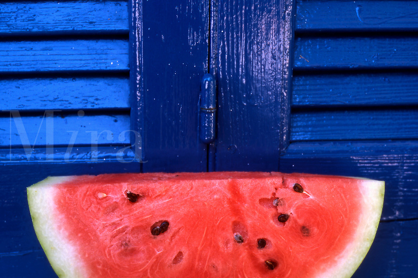 Watermelon and Blue Shutters. Western Crete, Greece.