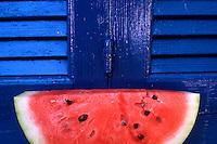 Watermelon and Blue Shutters. Western Crete, Greece.