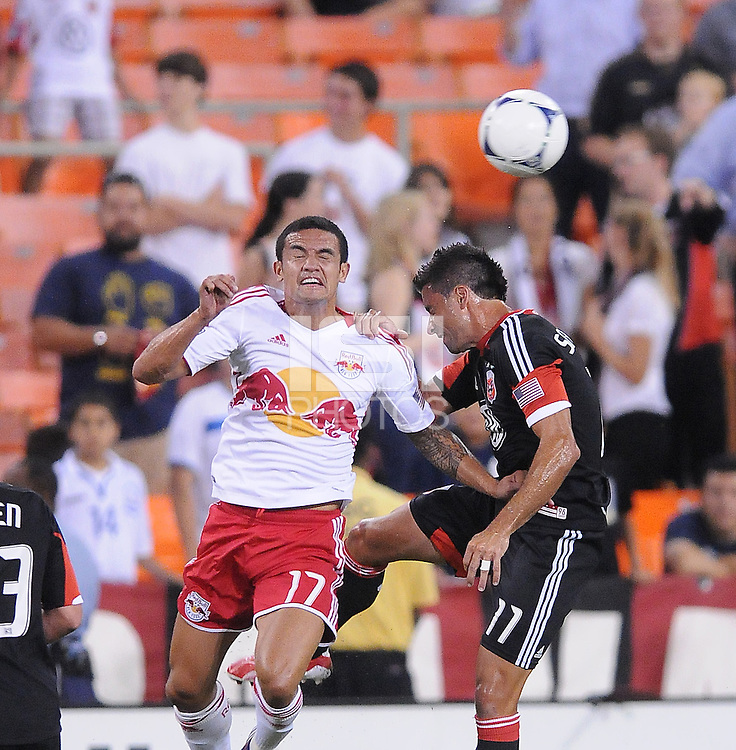 D.C. United midfielder Marcelo Saragosa (11) against New York Red Bulls forward Tim Cahill (17) The New York Red Bulls tied D.C. United 2-2 at RFK Stadium, Wednesday August 29, 2012.