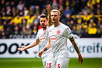 11.05.2019, Signal Iduna Park, Dortmund, GER, 1.FBL, Borussia Dortmund vs Fortuna Düsseldorf, DFL REGULATIONS PROHIBIT ANY USE OF PHOTOGRAPHS AS IMAGE SEQUENCES AND/OR QUASI-VIDEO<br /> <br /> im Bild | picture shows:<br /> Niko Giesselmann (Fortuna #23) und Andre Hoffmann (Fortuna #3) fordern die gelbe Karte fuer Christian Pulisic (Borussia Dortmund #22), <br /> <br /> Foto © nordphoto / Rauch