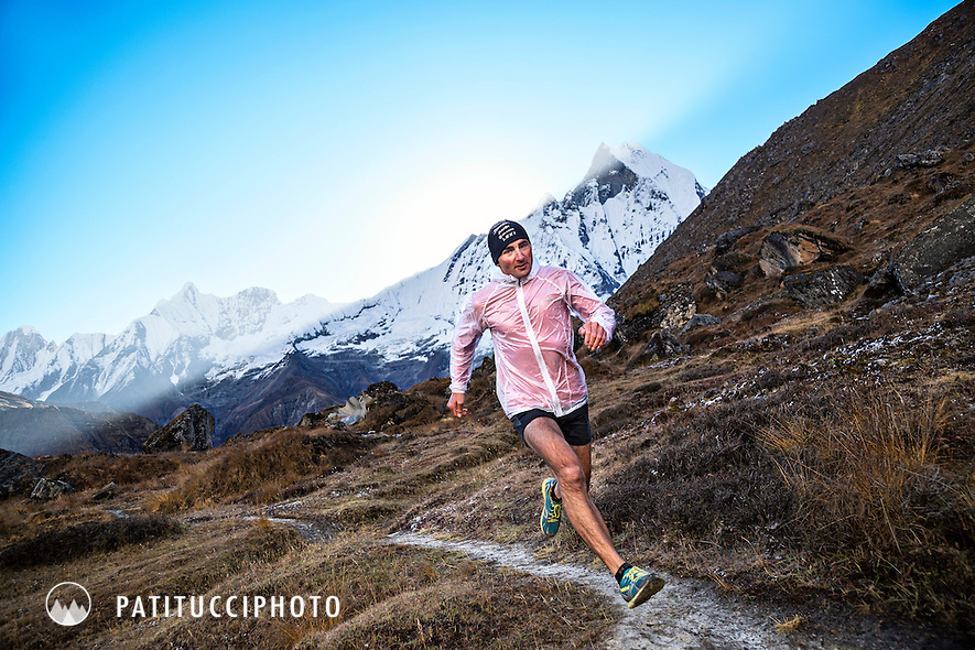 Ueli Steck trail running near the Annapurna Basecamp while preparing to climb the 8000 meter peak Annapurna 1 which he did, solo, via a new route, in a single 28 hour alpine push. Nepal.
