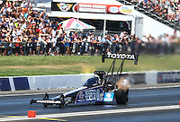 Jun. 1, 2013; Englishtown, NJ, USA: NHRA top fuel dragster driver Antron Brown during qualifying for the Summer Nationals at Raceway Park. Mandatory Credit: Mark J. Rebilas-