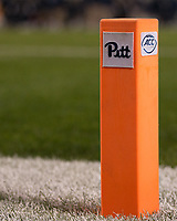 Pitt football pylon. The Virginia Tech Hokies defeated the Pitt Panthers 39-36 on October 27, 2016 at Heinz Field in Pittsburgh, Pennsylvania.