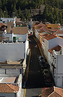 Narrow street in the village/town of Villaflor, at the foot of Mount Teide, Tenerife, Canary Islands.