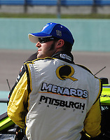 Nov. 14, 2008; Homestead, FL, USA; NASCAR Sprint Cup Series driver Paul Menard during qualifying for the Ford 400 at Homestead Miami Speedway. Mandatory Credit: Mark J. Rebilas-