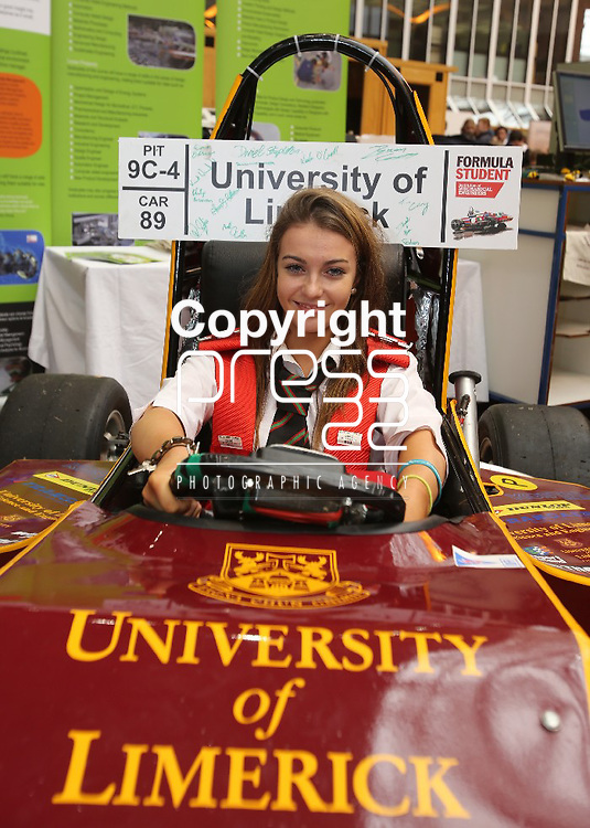 13/11/2012    Repro Free Attending UL Limerick Science Week was Megan Leahy from Thomondgate, Limerick a second year student at the Gael Colaiste sampling a racing buggy. Photograph Liam Burke/Press 22 Press Release ....A wide range of engaging science events are taking place in the University of Limerick this week to celebrate National Science Week.  The Faculty of Science and Engineering have scheduled five days of talks, exhibitions, demonstrations and shows aimed at primary and secondary school students.  The overall theme of UL Science week is to illustrate to young people the huge role science and engineering has to play in driving and shaping their future.   Interactive science shows, presentations on the human body, science magic shows and an interactive technology exhibition all form part of UL Science Week.    National Science Week is organised in association with Discover Science and Engineering, Forfas, and aims to raise awareness of science, engineering and technology in all of our everyday lives.