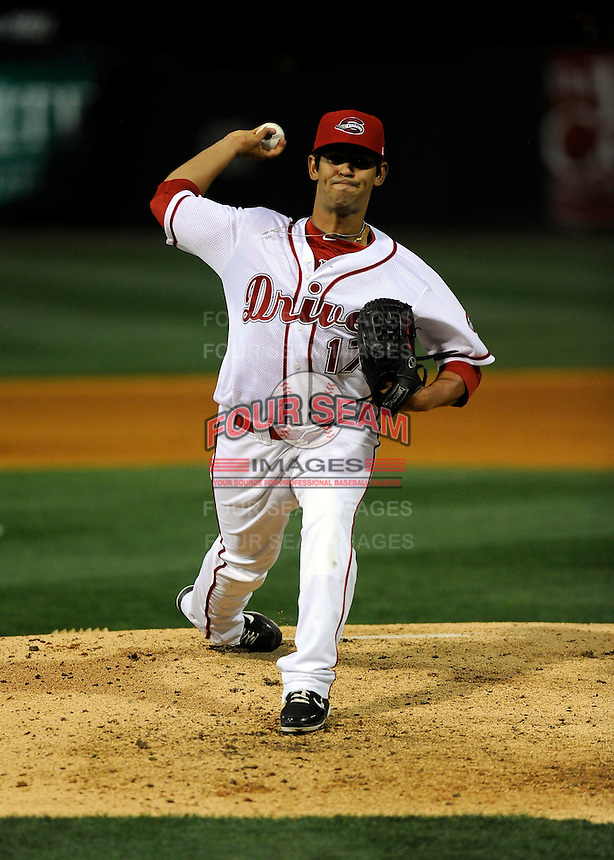Pitcher Jason Garcia (17) of the Greenville Drive in a game against the Charleston RiverDogs on Opening Day, Friday, April 5, 2013, at Fluor Field at the West End in Greenville, South Carolina. (Tom Priddy/Four Seam Images)