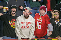 College Park, MD - October 22, 2016: Maryland Terrapins fans cheer during game between Michigan St. and Maryland at  Capital One Field at Maryland Stadium in College Park, MD.  (Photo by Elliott Brown/Media Images International)