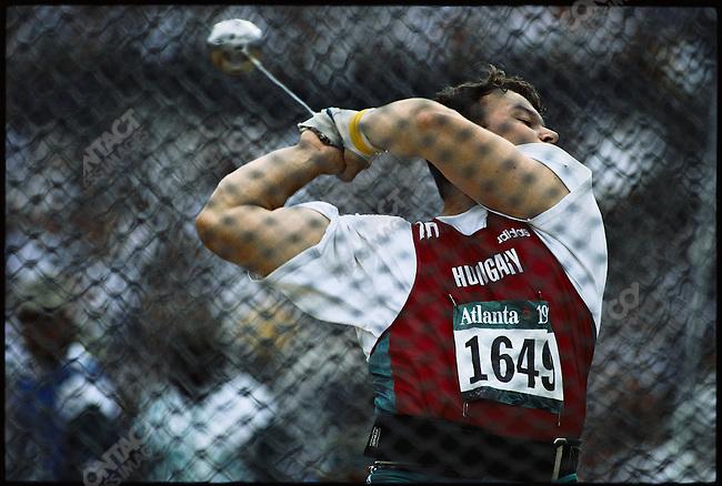 Hammer throw finals, men, Balazs Kiss (Hungary) gold. Atlanta, Georgia, USA 1996