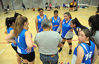 The St Catherine's College team huddles during the College Sport Wellington junior volleyball tournament at ASB Sports Centre in Wellington, New Zealand on Saturday, 12 November 2016. Photo: Dave Lintott / lintottphoto.co.nz