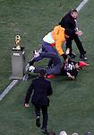 Fan Supporter Police Soccer, Football - 2010 FIFA World Cup - Johannesburg, South Africa, Sunday, July, 11, 2010. Final match, Netherlands vs Spain, Soccer City Stadium (credit & photo: Pedja Milosavljevic / +381 64 1260 959 / thepedja@gmail.com / STARSPORT )