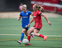 Seattle, WA - Saturday Aug. 27, 2016: Jessica Fishlock, Lindsey Horan during a regular season National Women's Soccer League (NWSL) match between the Seattle Reign FC and the Portland Thorns FC at Memorial Stadium.