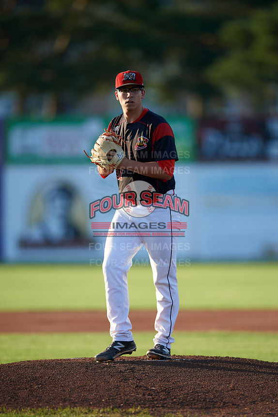 Batavia Muckdogs starting pitcher Alex Mateo (37) gets ready to deliver a warmup pitch during a game against the Mahoning Valley Scrappers on August 16, 2017 at Dwyer Stadium in Batavia, New York.  Batavia defeated Mahoning Valley 10-6.  (Mike Janes/Four Seam Images)