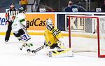 Stockholm 2014-11-16 Ishockey Hockeyallsvenskan AIK - IF Bj&ouml;rkl&ouml;ven :  <br /> Bj&ouml;rkl&ouml;vens Lucas Sandstr&ouml;m g&ouml;r m&aring;l bakom AIK:s m&aring;lvakt Robin Rahm i straffl&auml;ggningen efter f&ouml;rl&auml;ngning av matchen mellan AIK och IF Bj&ouml;rkl&ouml;ven <br /> (Foto: Kenta J&ouml;nsson) Nyckelord:  AIK Gnaget Hockeyallsvenskan Allsvenskan Hovet Johanneshov Isstadion Bj&ouml;rkl&ouml;ven L&ouml;ven IFB jubel gl&auml;dje lycka glad happy