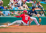 11 March 2016: Philadelphia Phillies infielder Emmanuel Burriss slides safely into third during a Spring Training pre-season game against the Atlanta Braves at Champion Stadium in the ESPN Wide World of Sports Complex in Kissimmee, Florida. The Phillies defeated the Braves 9-2 in Grapefruit League play. Mandatory Credit: Ed Wolfstein Photo *** RAW (NEF) Image File Available ***