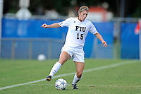 2 October 2011:  FIU midfielder Crystal McNamara (15) moves the ball upfield in the second half as the FIU Golden Panthers defeated the University of South Alabama Jaguars, 2-0, at University Park Stadium in Miami, Florida.