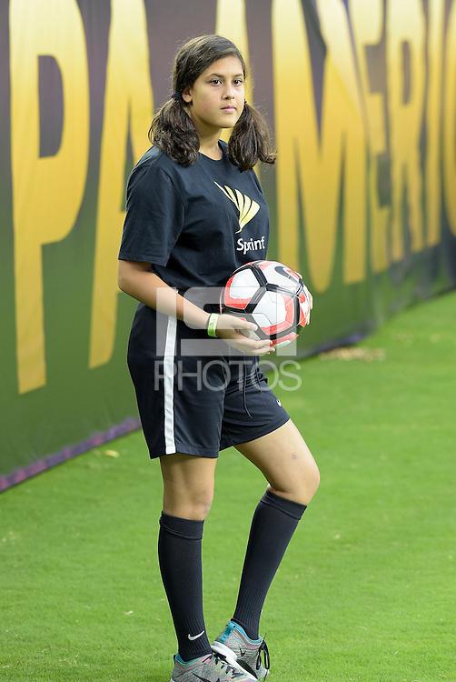 Houston, TX - Monday June 13, 2016: Ball Kid during a Copa America Centenario Group C match between Mexico (MEX) and Venezuela (VEN) at NRG Stadium.