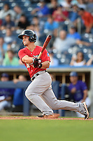Frisco Rough Riders outfielder Jake Smolinski (3) at bat during the second game of a doubleheader against the Tulsa Drillers on May 29, 2014 at ONEOK Field in Tulsa, Oklahoma.  Frisco defeated Tulsa 3-2.  (Mike Janes/Four Seam Images)