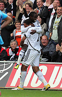 Pictured: Nathan Dyer and Ashley Williams of Swansea City. Saturday 17 September 2011<br /> Re: Premiership football Swansea City FC v West Bromwich Albion at the Liberty Stadium, south Wales.