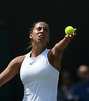 Madison Keys (USA) during her defeat by Evgeniya Rodina (RUS) in their Third Round Ladies' singles match<br /> <br /> Photographer Rob Newell/CameraSport<br /> <br /> Wimbledon Lawn Tennis Championships - Day 5 - Friday 6th July 2018 -  All England Lawn Tennis and Croquet Club - Wimbledon - London - England<br /> <br /> World Copyright &not;&copy; 2017 CameraSport. All rights reserved. 43 Linden Ave. Countesthorpe. Leicester. England. LE8 5PG - Tel: +44 (0) 116 277 4147 - admin@camerasport.com - www.camerasport.com