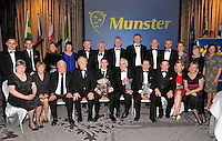 Clare GAA members pictured at the Bord G&aacute;is Energy Munster GAA Sports Star of the Year Awards in The Malton Hotel, Killarney on Saturday night. Included in the picture are Davy Fitzgerald, Manager of the Year, Colin Crehan, Handballer of the Year, Padraig MacMathuna, Distinguished Service to the GAA, Colm Galvin, U-21 Hurler of then Year, Marty Morrissey, RTE, Robert Frost, Chairman, Munster GAA, WITH, SHARON O'LOUGHLIN, MIKE KEANE, BERNARD KEANE, AGNES O&quot;SULLIVAN, SIMON MORONEY, PJ KELLY, SEAN O'HALLORAN, GER HICKEY, KEVIN GALVIN, ED O'SULLIVAN, GERALDINE GALVIN, BETTY O'HALLORAN, CARMEL KELLY, TOM DOWNES.<br />  Picture by Don MacMonagle<br /> <br /> PR photo from Munster Council