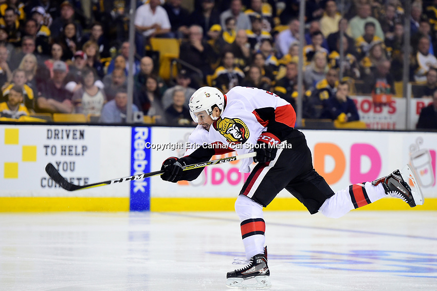 Monday, April 17, 2017: Ottawa Senators defenseman Cody Ceci (5) fires at the net during game 3 of round one of the National Hockey League Eastern Conference Stanley Cup Playoffs between the Ottawa Senators and the Boston Bruins, held at TD Garden, in Boston, Mass. Ottawa defeats Boston 4-3 in overtime and leads the series 2-1. Eric Canha/CSM
