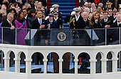 United States President Barack Obama, left and U.S. Vice President Joe Biden listen as singer Beyonce sings the national anthem at the ceremonial swearing-in at the U.S. Capitol during the 57th Presidential Inauguration in Washington, Monday, January 21, 2013. .Credit: Scott Andrews / Pool via CNP
