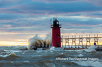 64795-02409 South Haven Lighthouse with high waves crashing South Haven,  MI