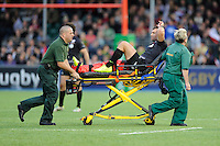 Schalk Brits of Saracens leaves the pitch after injuring his leg during the European Rugby Champions Cup  Round 1 match between Saracens and ASM Clermont Auvergne at the Twickenham Stoop on Saturday 18th October 2014 (Photo by Rob Munro)