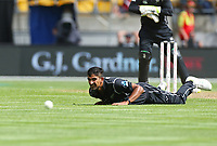 Blackcaps Ish Sodhi during the third ODI cricket match between the Blackcaps & England at Westpac stadium, Wellington. 3rd March 2018. © Copyright Photo: Grant Down / www.photosport.nz