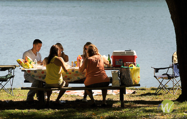Shikellamy State Park, Sunbury, PA. Friends picnicing.