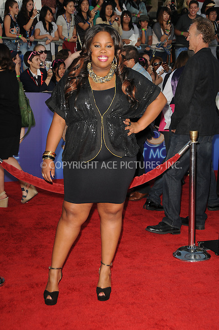 WWW.ACEPIXS.COM . . . . . ....Augsut 6 2011, LA....Amber Riley arriving at the Premiere of 'Glee The 3D Concert Movie' at the Regency Village Theater on August 6, 2011 in Westwood, California.....Please byline: PETER WEST - ACE PICTURES.... *** ***..Ace Pictures, Inc:  ..Philip Vaughan (212) 243-8787 or (646) 679 0430..e-mail: info@acepixs.com..web: http://www.acepixs.com