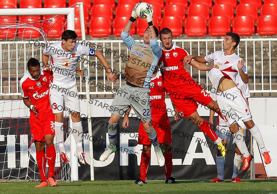 Fudbal Kup Srbije season 2013-2014<br /> Proleter Novi Sad v Crvena Zvezda<br /> Goalkeeper Milos Vesic Stefan Mihajlovic (R)<br /> Novi Sad, 25.09.2013.<br /> foto: Srdjan Stevanovic/Starsportphoto &copy;