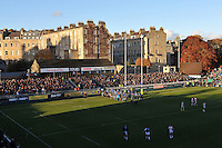 A general view of the terracing at the Recreation Ground. LV= Cup match, between Bath Rugby and the Newport Gwent Dragons on November 10, 2012 at the Recreation Ground in Bath, England. Photo by: Patrick Khachfe / Onside Images