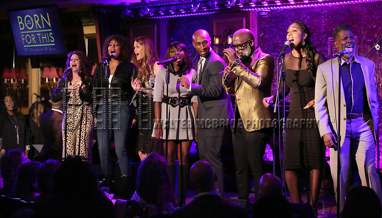 "Kirsten Wyatt, Liisi LaFontaine, Maddie Shea Baldwin, Loren Lott, Donald Webber Jr., BeBe Winans, Nita Whitaker and cast on stage during a Song preview performance of the BeBe Winans Broadway Bound Musical ""Born For This"" at Feinstein's 54 Below on November 5, 2018 in New York City."