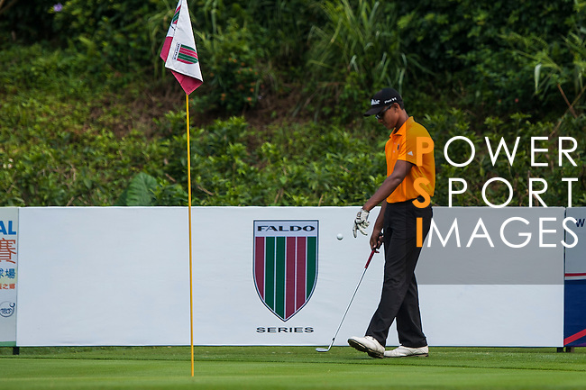 Viraaj Ganapathy Madappa practices ahead of day 3 of the 9th Faldo Series Asia Grand Final 2014 golf tournament on March 20, 2015 at Faldo course in Mid Valley Golf Club in Shenzhen, China. Photo by Xaume Olleros / Power Sport Images