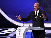 1st December 2017, State Kremlin Palace, Moscow, Russia;  FIFA President Gianni Infantino speaks during the FIFA 2018 World Cup draw, at the State Kremlin Palace in Moscow, Russia, 01 December 2017.