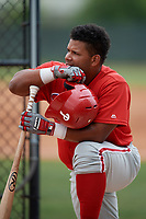 Philadelphia Phillies Wilson Garcia (25) during a Minor League Spring Training game against the Toronto Blue Jays on March 30, 2018 at Carpenter Complex in Clearwater, Florida.  (Mike Janes/Four Seam Images)