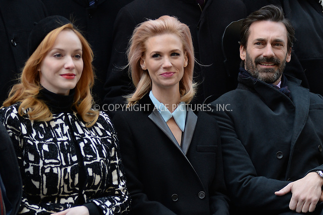 WWW.ACEPIXS.COM<br /> March 23, 2015 New York City<br /> <br /> Christina Hendricks, January Jones and Jon Hamm attending the 'Mad Men' art installation Unveiling at Time &amp; Life Building on March 23, 2015 in New York City. <br /> <br /> Please byline: Kristin Callahan/AcePictures<br /> <br /> ACEPIXS.COM<br /> <br /> Tel: (646) 769 0430<br /> e-mail: info@acepixs.com<br /> web: http://www.acepixs.com