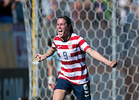 Heather O'Reilly (9) celebrates her goal during a friendly match at Sahlen's Stadium in Rochester, NY.  The USWNT defeated Costa Rica, 8-0.