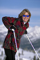 Woman, Women, Active Lifestyle, Happiness, Portrait, Cross Country Skiing, Sunglasses, Winter, Scenic, Fitness, Healthy, Exercise, Sports, Sunshine, Vacation. Asa Armstrong (MR 648). Backcountry Colorado United States Rocky Mountains.