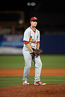 Palm Beach Cardinals relief pitcher Ross Vance (19) gets ready to deliver a pitch during a game against the Charlotte Stone Crabs on April 11, 2017 at Charlotte Sports Park in Port Charlotte, Florida.  Palm Beach defeated Charlotte 12-6.  (Mike Janes/Four Seam Images)