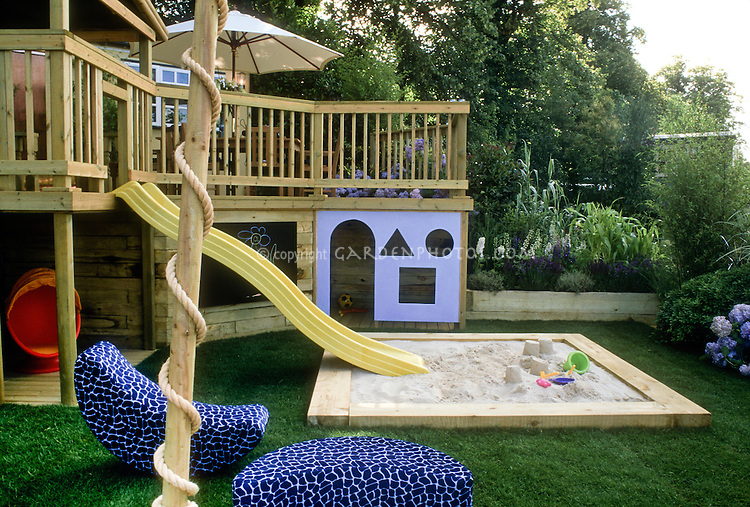 Sandbox In Backyard Landscape For Children