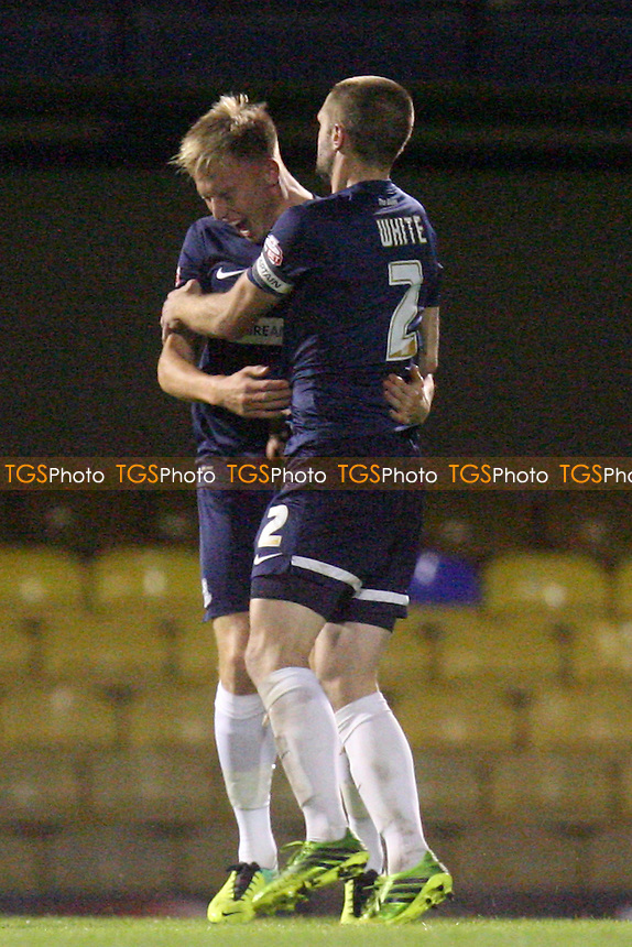Cauley Woodrow of Southend United celebrates scoring the opening goal for Southend -  Southend United vs Dagenham and Redbridge at the Roots Hall Stadium - 08/10/13 - MANDATORY CREDIT: Dave Simpson/TGSPHOTO - Self billing applies where appropriate - 0845 094 6026 - contact@tgsphoto.co.uk - NO UNPAID USE